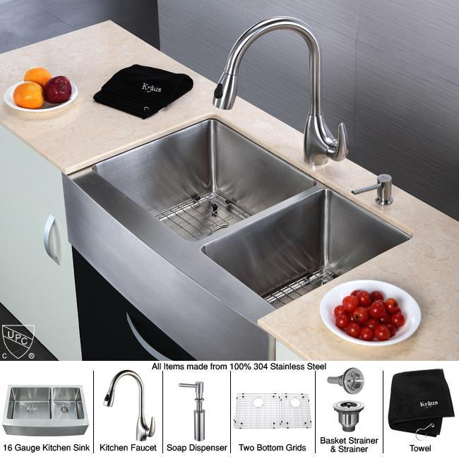 Kraus Kitchen Combo Set Stainless Steel Farmhouse Double Sink/Faucet