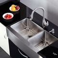 Kraus Satin-Finish Stainless-Steel Farmhouse Kitchen Sink/Faucet/Soap Dispenser