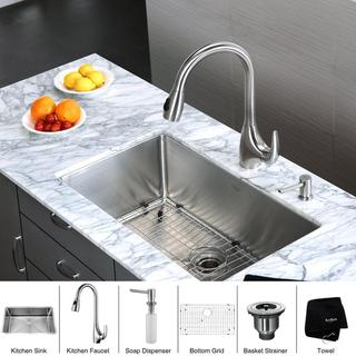Kraus Kitchen Combo Set Stainless Steel 30-inch Undermount Sink/Faucet