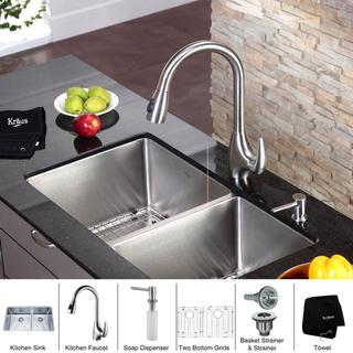 Kraus Stainless-Steel Double-Bowl Undermount Kitchen Sink/Faucet/Soap Dispenser