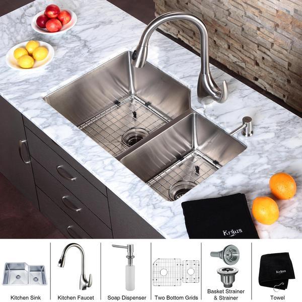 Kraus Kitchen Combo Set Stainless Steel Undermount 32-inch Sink/Faucet