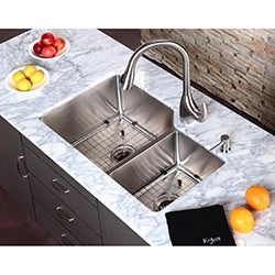 Kraus Kitchen Combo Set Stainless Steel Undermount 32-inch Sink/Faucet