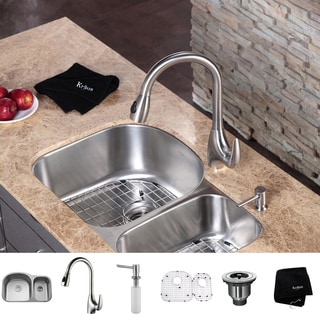 Kraus Kitchen Combo Set Stainless Steel 32-inch Undermount Sink/Faucet ...