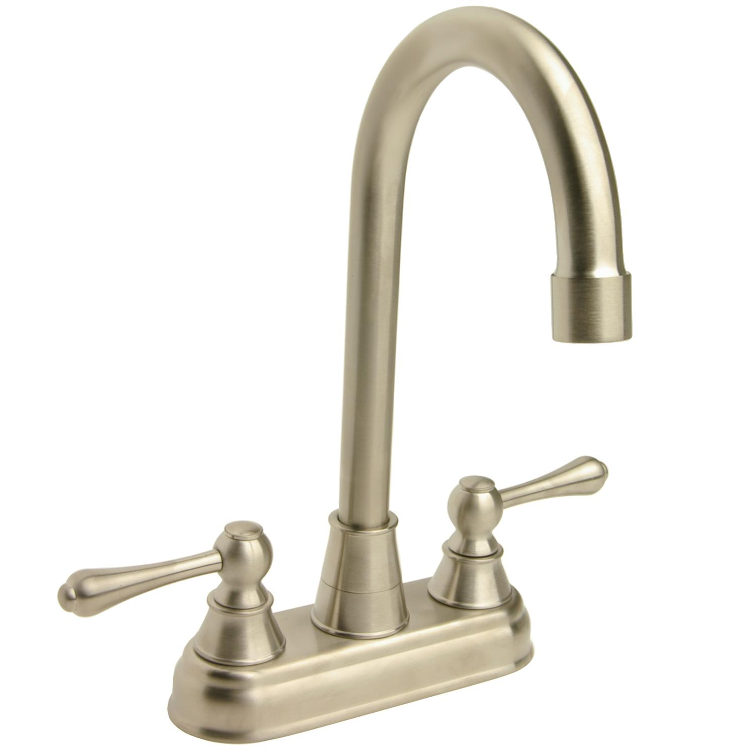 Brushed Nickel Kitchen Faucet : High-arc Brushed Nickel Bar Faucet - 13125437 - Overstock.com Shopping ...