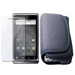 Black Leather Case/ Screen Protector for Motorola A955 Droid 2