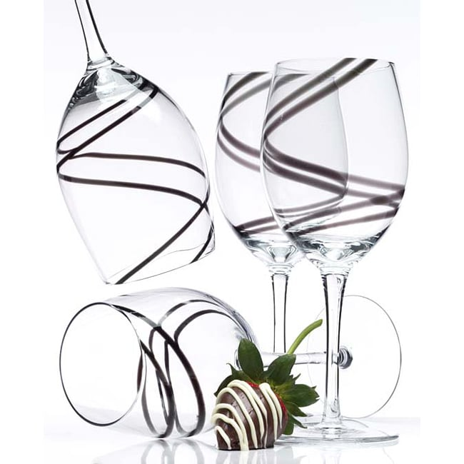 Luigi Bormioli Black Swirl 21-oz Goblets (Pack of 4)