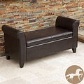 Christopher Knight Home Torino Bonded Leather Brown Armed Storage Ottoman
