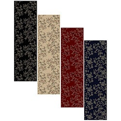 Impressions Black Abstract Area Rug (2'2 x 7'7)