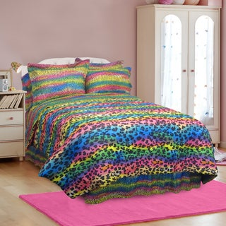 Street Revival Rainbow Leopard Twin-size 6-Piece Bed in a Bag with Sheet Set