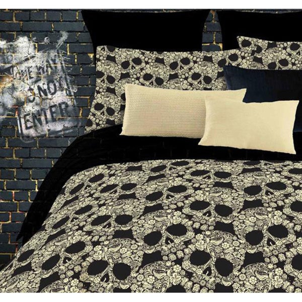 comforter bed set flower skull print full size bed in a bag with sheets 6 piece ebay. Black Bedroom Furniture Sets. Home Design Ideas