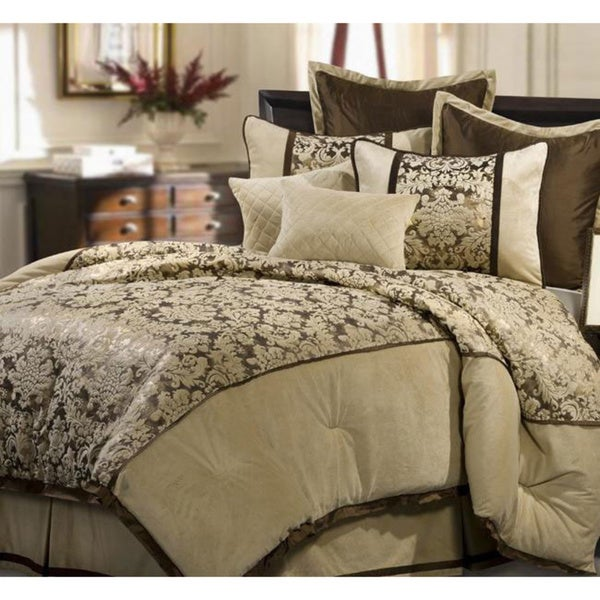 Cream Venzato 8-piece King-size Comforter Set