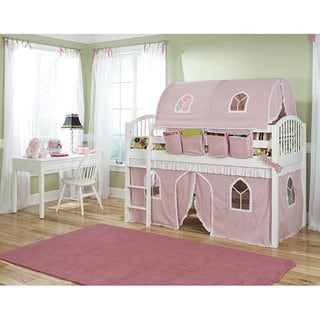 VP Home Lowell White Junior Twin-size Loft Bed with Top Tent and Bottom Playhouse Curtain