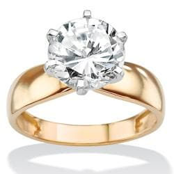 Ultimate CZ 10k Yellow Gold Cubic Zirconia Solitaire Ring