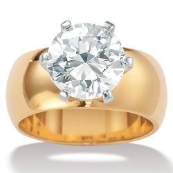 Ultimate CZ Gold Overlay Cubic Zirconia Solitaire Ring