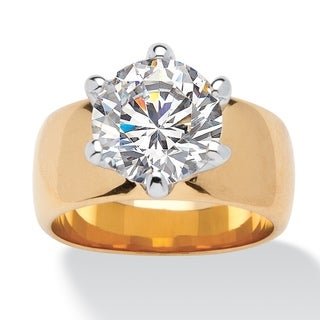 PalmBeach 4 TCW Round Cubic Zirconia Solitaire Engagement Anniversary Ring in 14k Gold-Plated Glam CZ