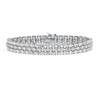 "PalmBeach 28.60 TCW Oval Cut Cubic Zirconia Sterling Silver Triple-Row Tennis Bracelet 8 1/2"" Glam CZ"