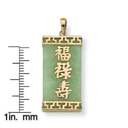 PalmBeach 14k Yellow Gold Jade Chinese Character Pendant Naturalist