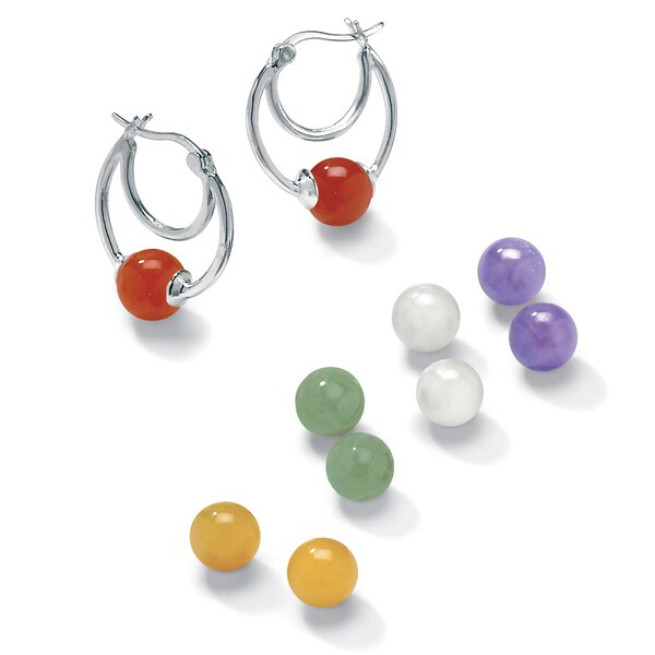 Angelina D'Andrea Sterling Silver Multi-colored Jade Interchangeable Earring Set
