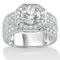 Ultimate CZ 10k White Gold Cubic Zirconia Octagon Ring