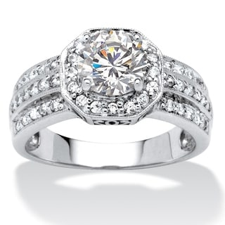 PalmBeach 2.26 TCW Round Cubic Zirconia Octagon Engagement Anniversary Ring in 10k White Gold Glam CZ