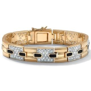 PalmBeach CZ Gold Overlay Men's Onyx and Cubic Zirconia Bracelet