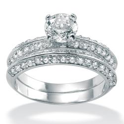 Ultimate CZ Platinum over Sterling Silver Cubic Zirconia 2-piece Ring Set