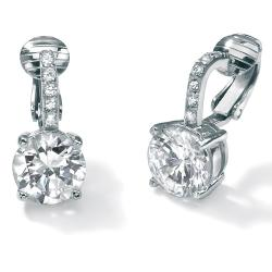 PalmBeach 6.18 TCW Round Cubic Zirconia Clip-On Drop Earrings in Platinum over .925 Sterling Silver Classic CZ