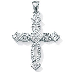 Ultimate CZ Sterling Silver Cubic Zirconia Fashion Cross Pendant
