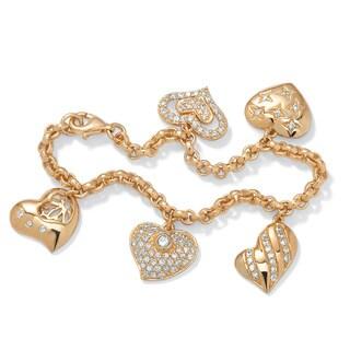 PalmBeach 1.48 TCW Cubic Zirconia Heart Charm Bracelet in Yellow Gold Tone Glam CZ