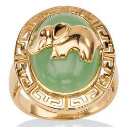 PalmBeach 18k Gold over Silver Green Jade Elephant Ring Naturalist