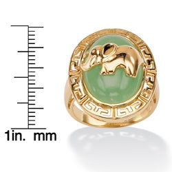 Angelina D'Andrea 18k Gold over Silver Green Jade Elephant Ring