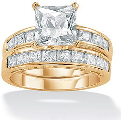 PalmBeach CZ Gold over Silver Cubic Zirconia 2-piece Solitaire Ring Set Classic CZ