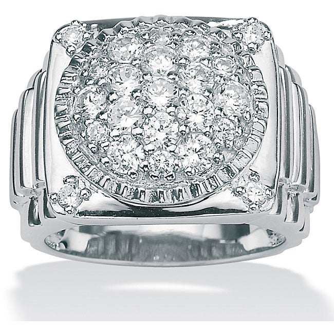 PalmBeach Men's 1.63 TCW Round Cubic Zirconia Ring in Platinum over Sterling Silver