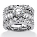 PalmBeach CZ Platinum over Silver Cubic Zirconia Wedding Ring Set Glam CZ
