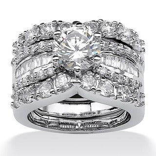 Palmbeach CZ Platinum over Silver Cubic Zirconia Wedding Ring Set