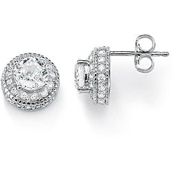 Ultimate CZ Gold over Silver Cubic Zirconia Stud Earrings