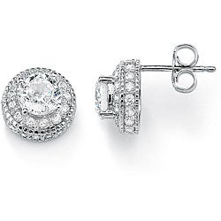PalmBeach 4.14 TCW Round Cubic Zirconia Platinum over Sterling Silver Stud Earrings Classic CZ