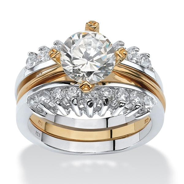 PalmBeach 2 Piece 2.86 TCW Round Cubic Zirconia Bridal Ring Set in Sterling Silver with a Golden Finish Classic CZ