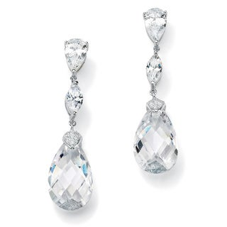 PalmBeach 34.70 TCW Pear-Cut Cubic Zirconia Sterling Silver Drop Earrings Glam CZ