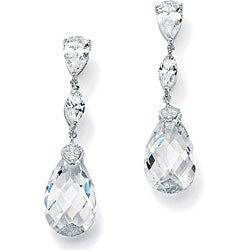 PalmBeach CZ Sterling Silver Cubic Zirconia Dangle Earrings Glam CZ