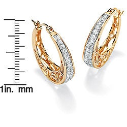 PalmBeach CZ Gold over Silver Cubic Zirconia Filigree Hoop Earrings Classic CZ