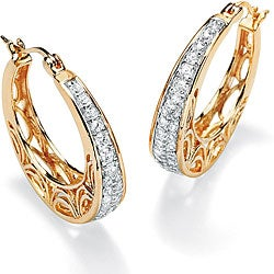 Ultimate CZ Gold over Silver Cubic Zirconia Filigree Hoop Earrings