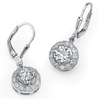 PalmBeach CZ Sterling Silver Cubic Zirconia Medallion Dangle Earrings Classic CZ