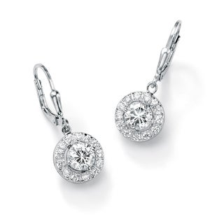 PalmBeach CZ Sterling Silver Cubic Zirconia Medallion Dangle Earrings Classic CZ