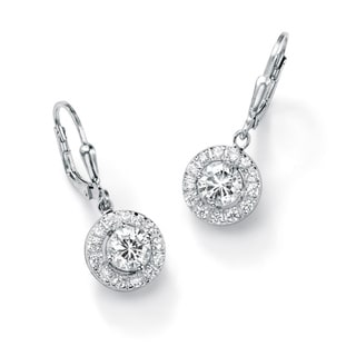 Ultimate CZ Sterling Silver Cubic Zirconia Medallion Dangle Earrings