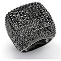 Isabella Collection Sterling Silver Black Cubic Zirconia Dome Ring