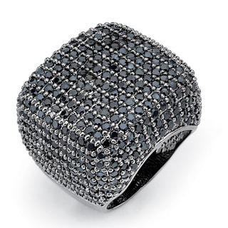 PalmBeach 6.76 TCW Round Pave Black Cubic Zirconia Ring Black Ruthenium-Plated Bold Fashion