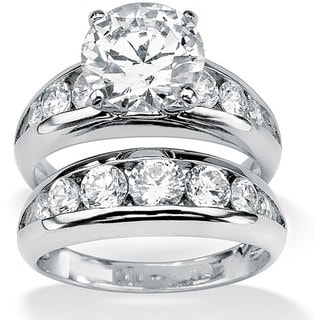 Ultimate CZ Sterling Silver Cubic Zirconia Wedding Ring Set