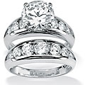 PalmBeach CZ Sterling Silver Cubic Zirconia Wedding Ring Set Glam CZ
