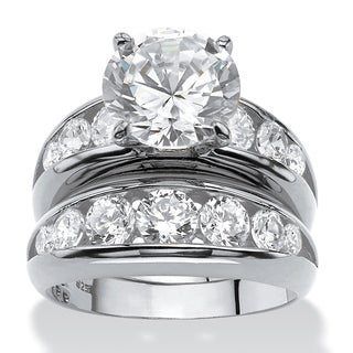 PalmBeach 2 Piece 6.09 TCW Round Cubic Zirconia Bridal Ring Set in Sterling Silver Glam CZ
